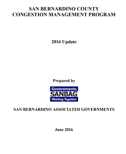 Congestion Management Plan Cover page