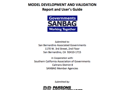 San Bernardino Transportation Analysis Model (SBTAM) Cover page