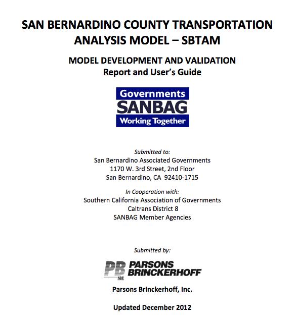 San Bernardino Transportation Analysis Model (SBTAM) Cover page