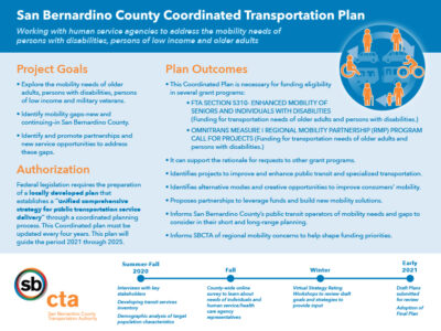 SBCTA Coordinated Transportation Plan Fact Sheet
