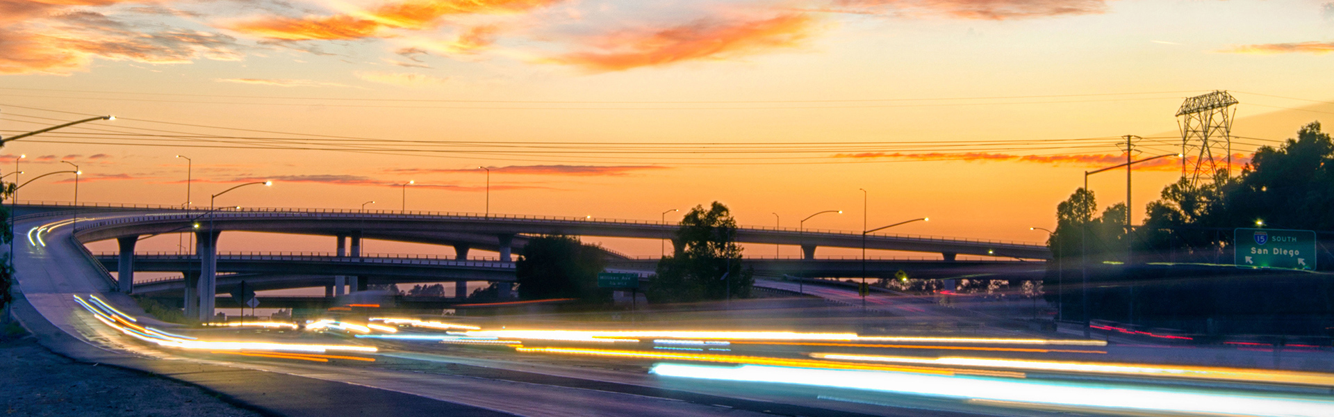 Highway photo during sunset